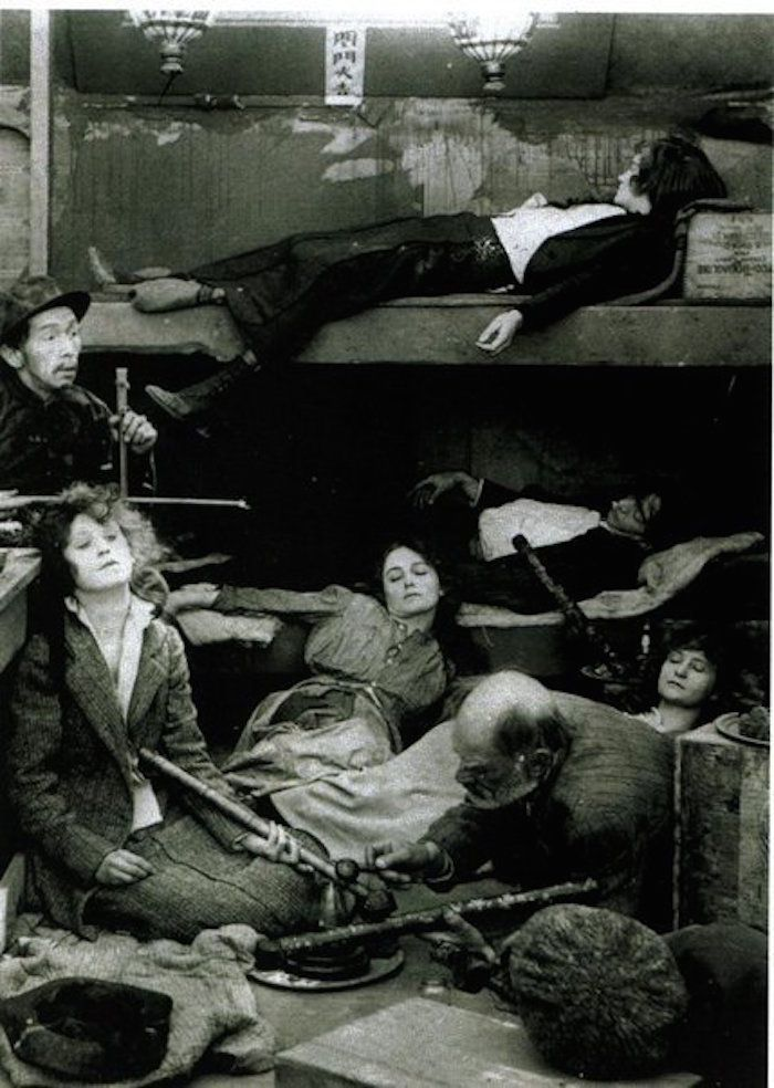 Women, (feeling the effects of the opium drug) laying inside an Opium Den during America's Gilded Age, c.1890s. Located in San Francisco, California. ~ {cwl} ~ (Image/article: Messy Nessy Chic)