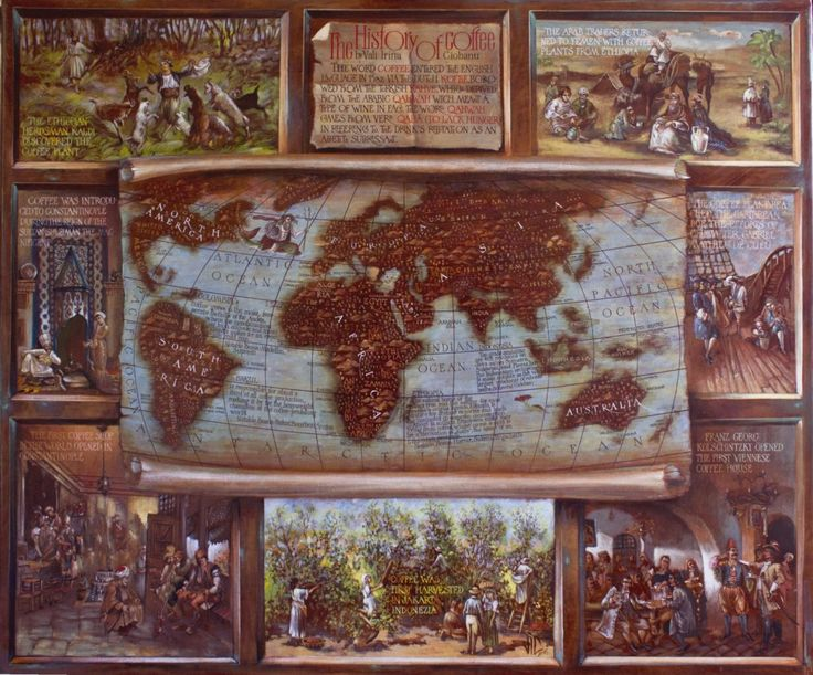 Painted on leather, with egg tempera,this map represent a history of coffee from the descovery (by a sheperd call Kally) till the firsts cofee shops