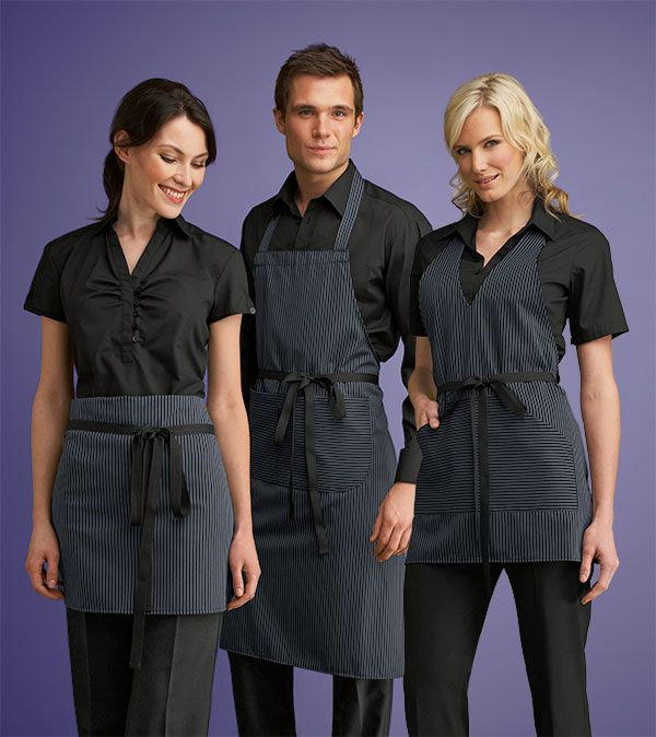 Simon Jersey black denim striped aprons from £8.09 // Waiter apron, waitress apron, bar apron, hospitality uniform, waiting uniform, bar uniform, perfect for chefs, kitchen staff, catering, retail, cafes, coffee shops, hospitality, hotels, hoteliers etc.