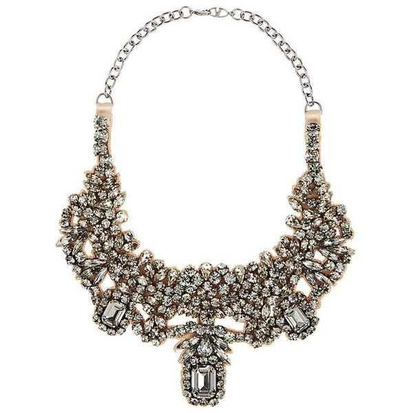 Valentino Women's Crystal-Embellished Satin Collar ($579) ❤ liked on Polyvore featuring jewelry, necklaces, no color, bib necklace, collar jewelry, bib jewelry, collar necklace and bib collar necklace