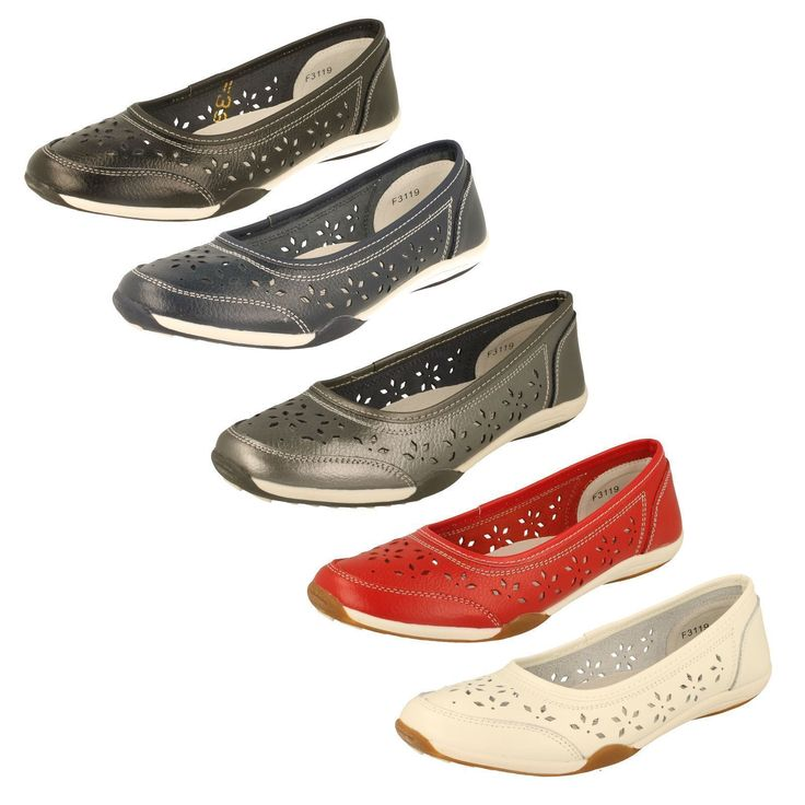 Ladies Slip On Leather Down To Earth Shoes Uk Sizes 3 - 8 F3119