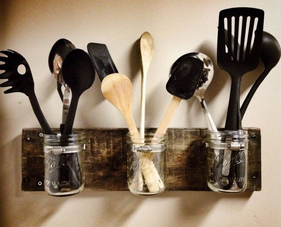 New item listed on our Etsy store! Cute kitchen storage, anyone? Rustic Mason Jar Wall Storage by RusticBluegrass on Etsy, $25.00