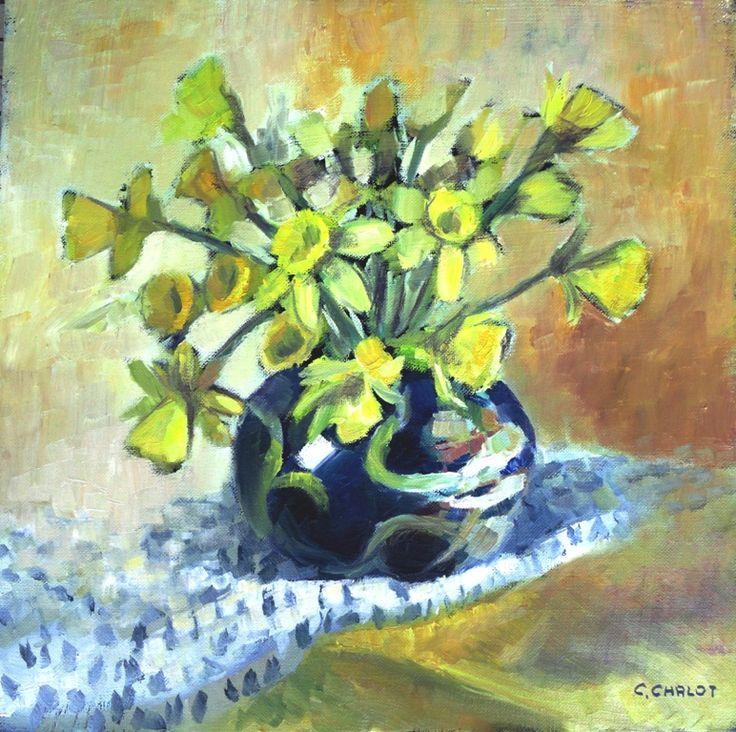 Cécile Chalot - Bouquet de jonquilles dans un vase chinois huile sur toile 40*40cm