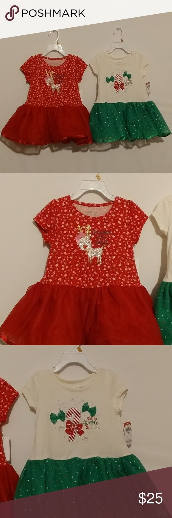 Girls Christmas dresses It's this time of season girls cute and festive Christmas dresses brand new set of 2 Dresses