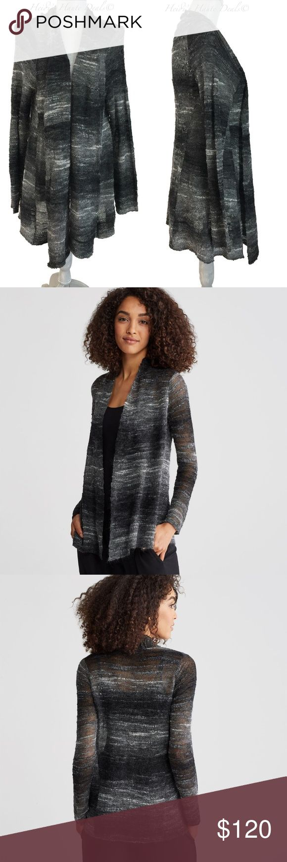 "EILEEN FISHER Black Mohair Wool Draped Cardigan L Eileen Fisher Cardigan Sweater - No Trades Size L - So Pretty!  • Authentic! • New with tags $298.00 • Bust 46"" • Length 29.5"" • Nylon/mohair/wool • Semi sheer • Ash - black/gray/white • Ombre knit pattern • Draped shawl collar • Open front • Decorative safety pin included • Long sleeves • Long length • Un-lined Eileen Fisher Sweaters Cardigans"