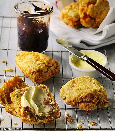 Toasty treat: Red Leicester cheese scones with plum and onion compote