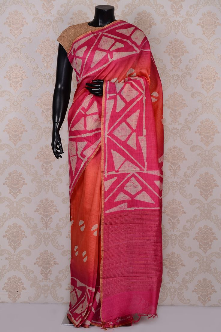 #Pink & coral orange magnificent printed #tussar #saree-SR18577 - #PURE TUSSAR SILK SAREE