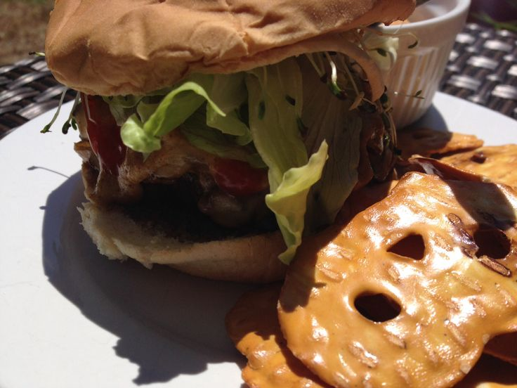 Burger onion, mushrooms and peppers! With fresh lettuce, tomato and alfalfa sprout.