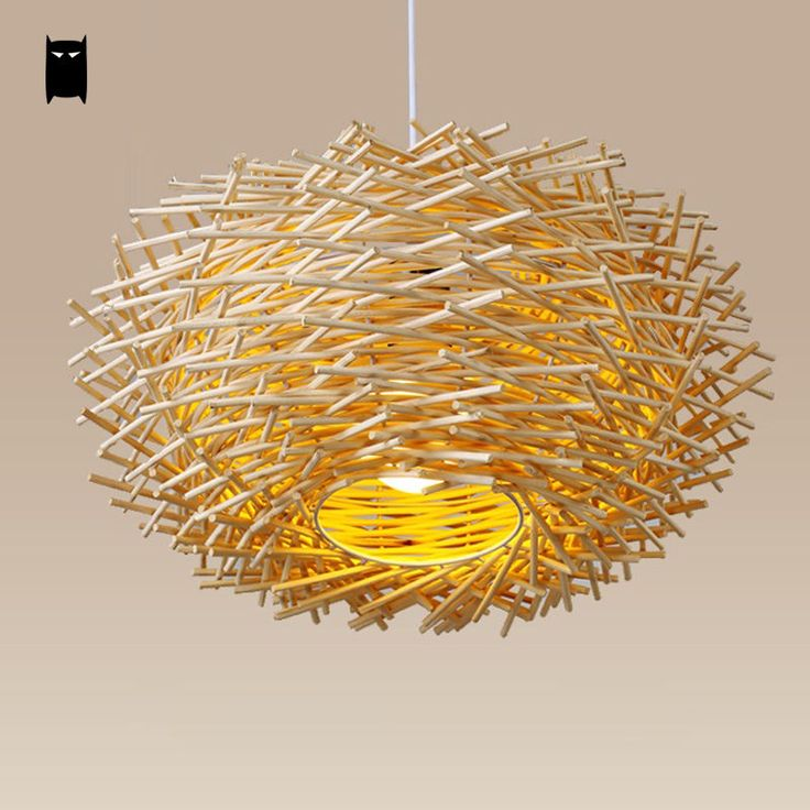 Wicker Rattan Nest Pendant Light Fixture Asian Hanging Ceiling Lamp Dining Room #Soleilchat #Asian