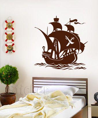 Παιδικά Αυτοκόλλητα Τοίχου - Πειρατικό Καράβι - διακόσμηση με αυτοκολλητα τοιχου Pirete Ship Wall Decal