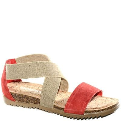 #Sandalo in sughero bicolor beige e rosso con doppia fascia.