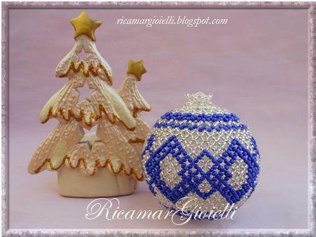 Palla di Natale argento e blu - Ricamar Gioielli