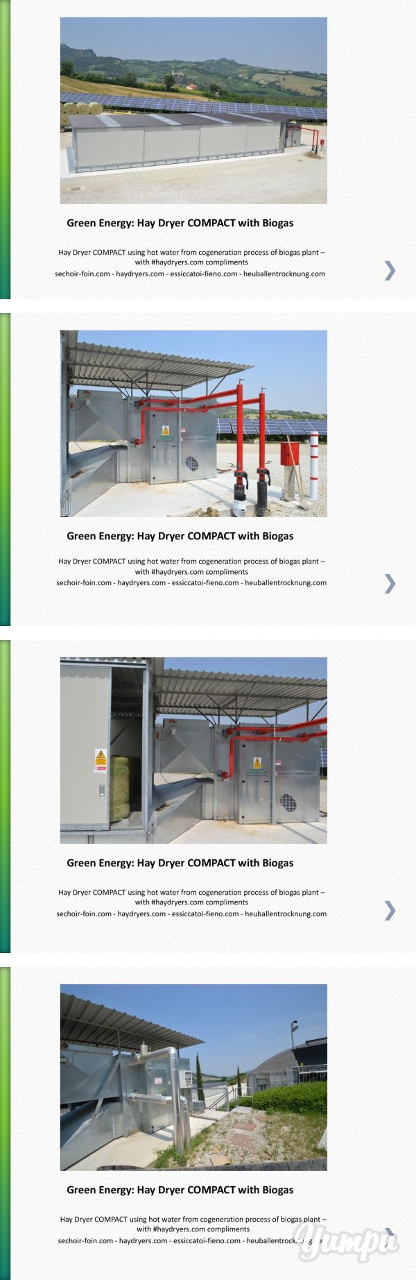 Green Energy: Hay Dryer COMPACT with Biogas - Magazine with 9 pages: Hay Dryer COMPACT using hot water from cogeneration process of biogas plant – with #haydryers.com compliments sechoir-foin.com - haydryers.com - essiccatoi-fieno.com - heuballentrocknung.com