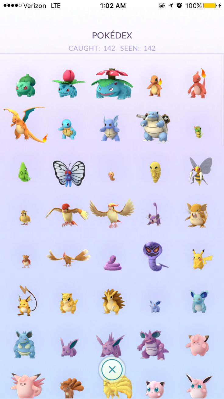 pokemon go complete pokedex