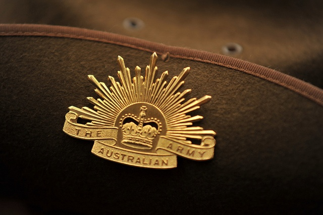 The rising sun badge attached to a slouch hat. Photo taken April 25th, 2010 at Sydney by Keith McInnes Photography.