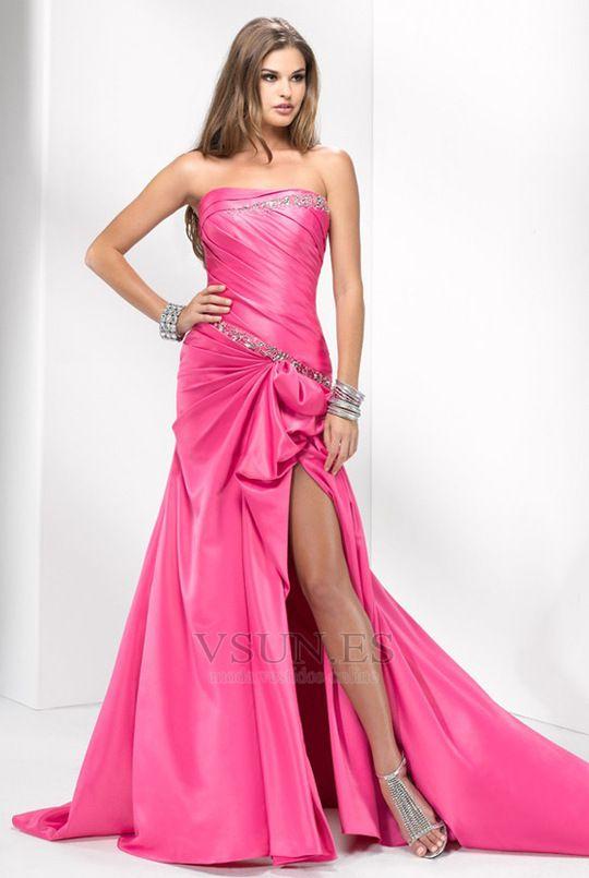 Vestido+de+fiesta+Reloj+de+Arena+Abertura+en+el+muslo+Corte+Recto+primavera