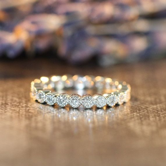 Vintage Inspired Diamond Eternity Band in 14k White Gold Bezel Diamond Wedding Anniversary Ring (Custom Made Ring ok)