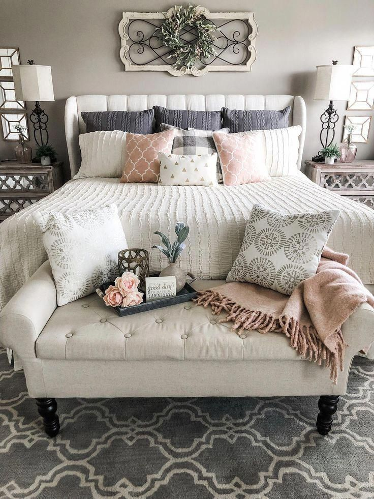 Simple ideas for adding blush accents to your decor! | Wilshire Collections #beautifulbedrooms #vintagebedroom