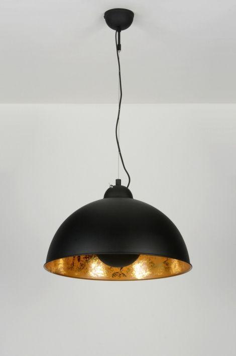 hanglamp 89135: modern, design, retro, metaal, zwart, mat, rond ...