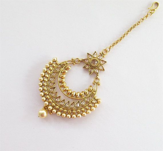 Bollywood Gold Antique Chaand Maatha Tikka/Indian by Beauteshoppe