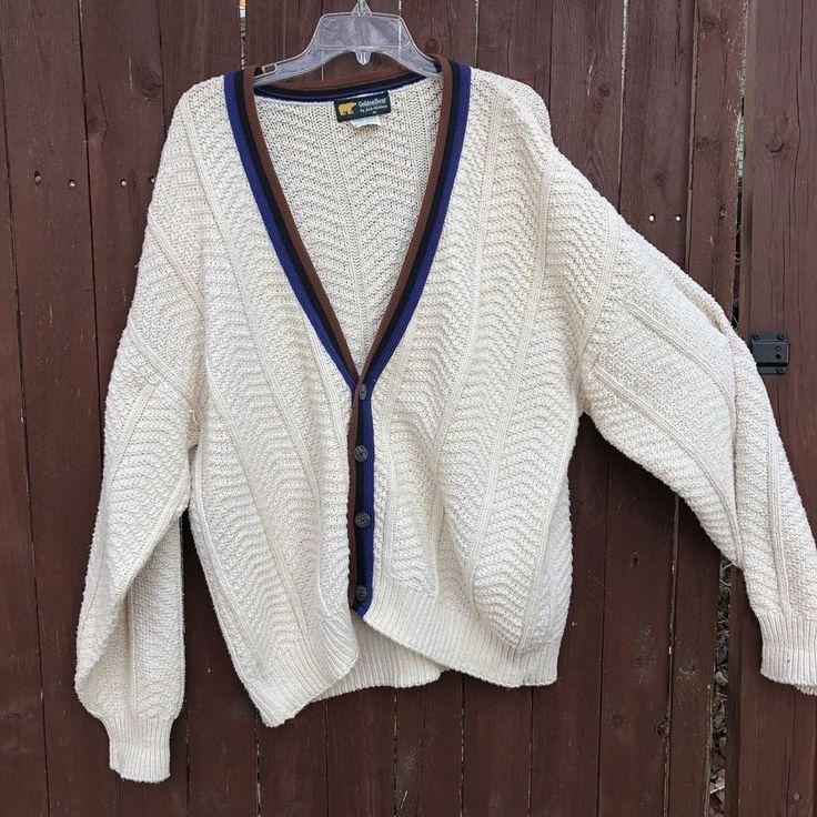 Golden Bear Jack Nicklaus XL Cardigan Sweater VTG Hipster Cotton USA Fisherman  | eBay