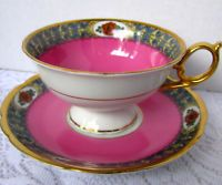 Royal Bayreuth Hot Pink Wide Mouth Teacup and Saucer, Bavaria Pink Tea Cup Set