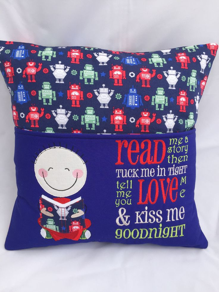 Pillow, Reading pillow, Book pocket, Boys reading pocket pillow, Blue, Robots fabric, 16 in square, Reading poem by JazzyJoDesigns on Etsy