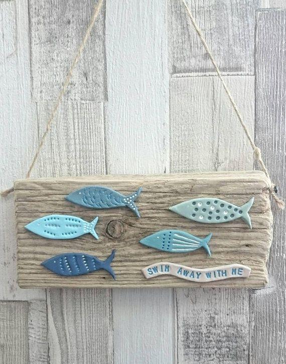 Fish On Driftwood Driftwood Hanging Driftwood Art Driftwood