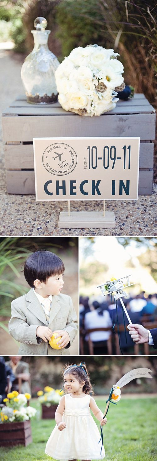 Little ones enjoy the airplane-themed wedding day, photography by April Smith and Co.