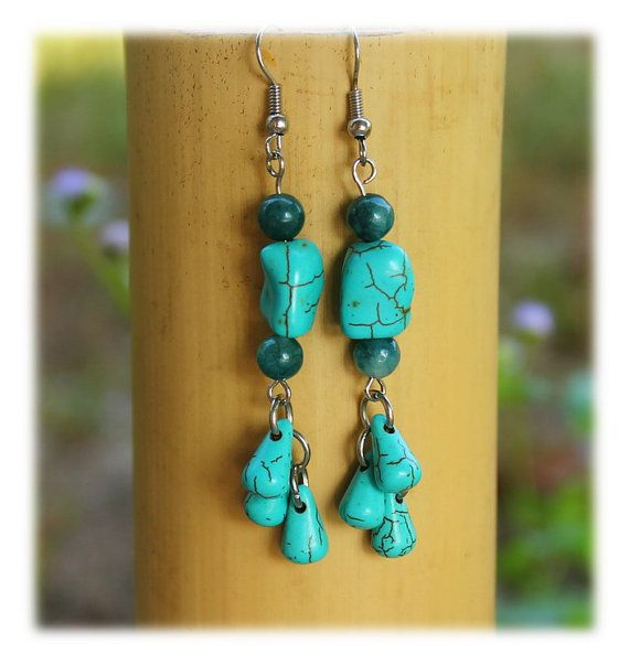 Turquoise Chandelier Dangles / Earrings / Beaded Hangers / Turquoise-Stone-Hangers / Colorful Hangers