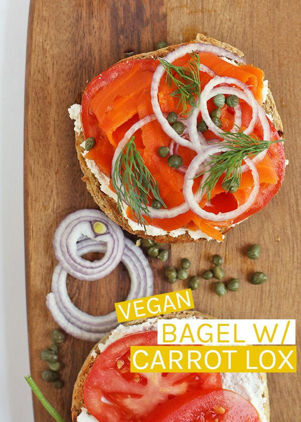 This Vegan Lox Sandwich Is Made With Roasted And Marinated Carrots Cream Cheese Capers And Fresh Dill For A Delici Lox And Bagels Vegan Bagel Vegan Sandwich