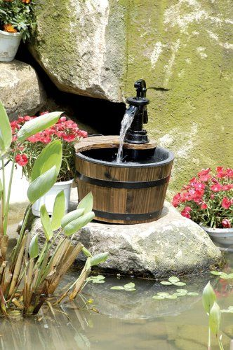 Wood Barrel Water Fountain With Pump Patio Small Garden Rustic Decor  Waterfall