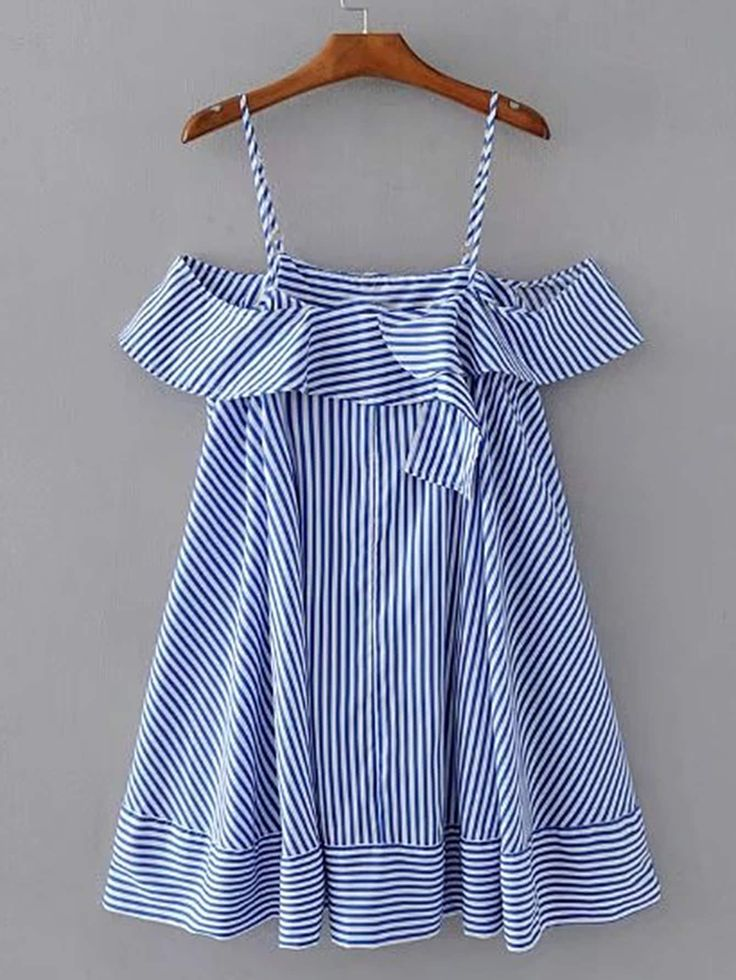 Blue Striped Ruffle Top