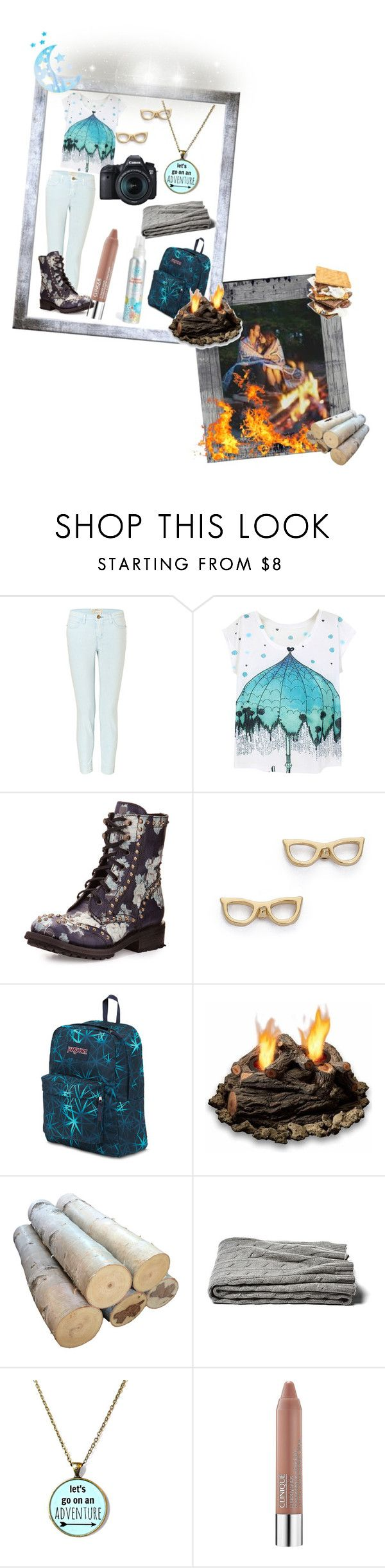 """""""30 Days of Love; Day 10: Campfire"""" by tearasakuramori ❤ liked on Polyvore featuring Current/Elliott, Ash, Kate Spade, JanSport, Real Flame, Clinique, The Honest Company and Eos"""