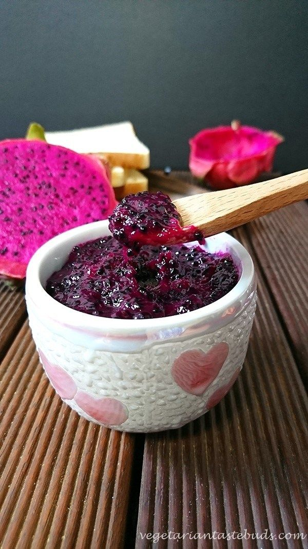 A beautiful looking and easy jam made from red dragon fruit or pitaya fruit. Dragon fruits have either white flesh or pink/deep magenta-coloured flesh, with tiny edible black seeds similar to that of kiwi fruit. The jam that gets ready with this gorgeous fruit has a different texture from other fruit jams. It has a jelly like texture and its seeds give an extra crunch.