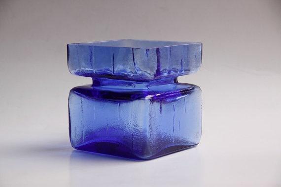Vintage Blue Vase by Helena Tynell - Riihimäen Lasi 60s