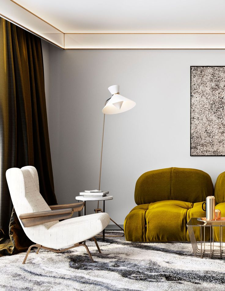 mossy green chic sofa and draperies
