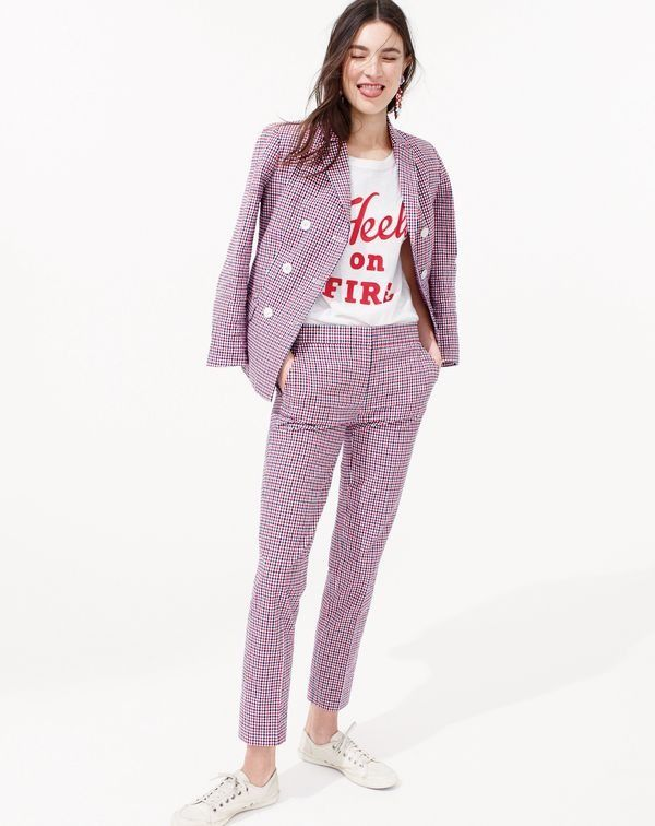 """J.Crew women's double-breasted blazer in red tattersall, vintage cotton """"Heels on fire"""" T-shirt and Paley pant in red tattersall."""