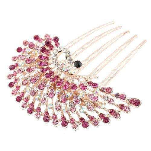 Vintage Rhinestone Peacock Hairpin by taoli. $5.99. Artificial alloy inlaid with precious stones / semi-precious stones. Material: Alloy Crystal. Good quality and bright colors. Hair accessories: combs / insert comb Hair Accessories Material: Alloy / Silver / Gold Color were shipped. Save 40% Off!
