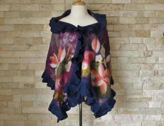 Hey, I found this really awesome Etsy listing at https://www.etsy.com/uk/listing/276303048/felted-wrap-purple-blue-floral-nuno