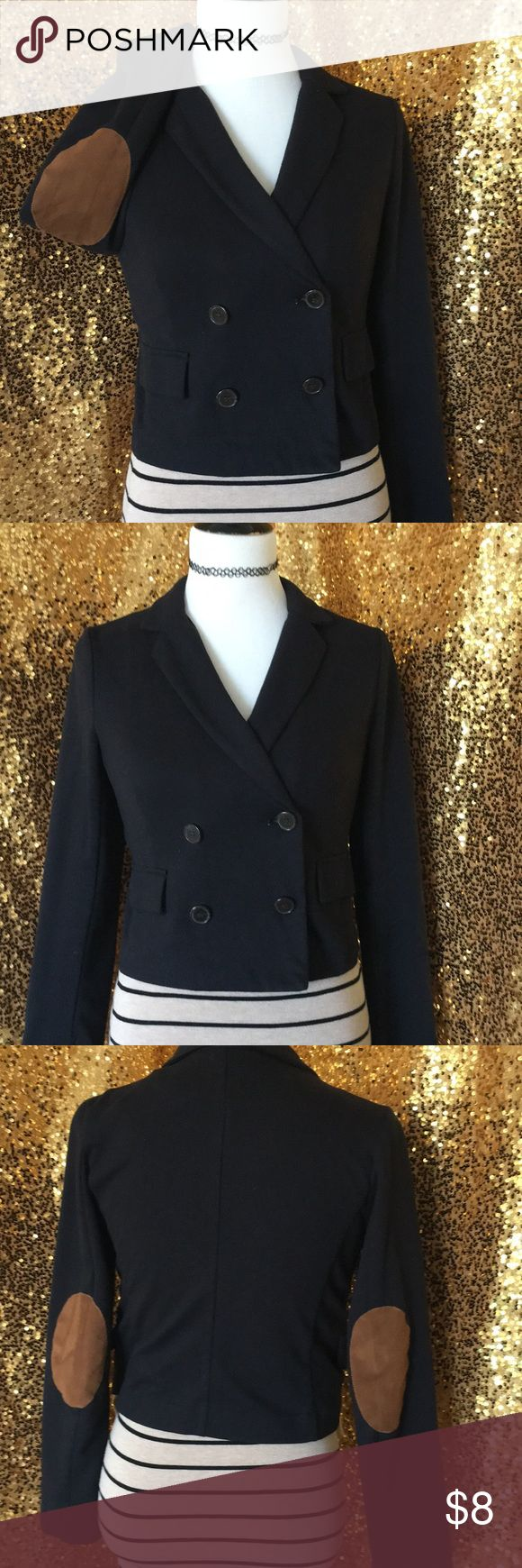 Black cotton blazer with hobo patches Soft casual blazer size s Tan suede elbow patches Jackets & Coats