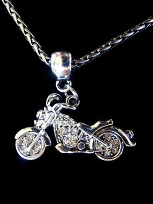 Silver Motorcycle Harley Charm w/ Rhinestone a Brighton Jewelry Tin or FREE Ship