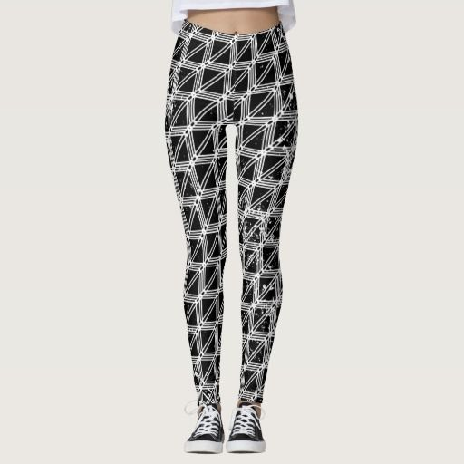 Black And White Geometric Pattern Leggings  by earlykirky