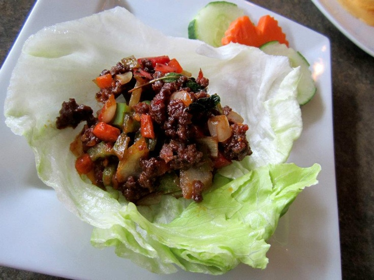 """AppeTHAIzing package from Thai House Kitsilano!  """"Lettuce Wrap"""", served with lean ground beef with chopped onion, bell pepper, basil and a touch of oyster & chilli sauce. www.vaneats.ca"""