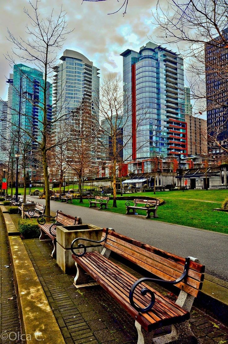 Vancouver downtown residential area, facing the bay. Overcast day, empty parks.