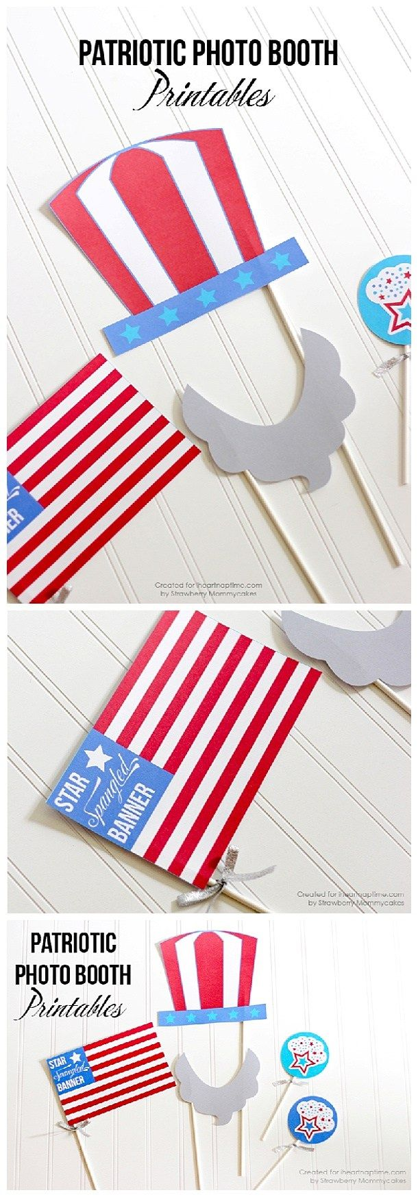 Do it Yourself 4th of July Party - Patriotic Photo Booth Props FREE Printables via i heart Naptime