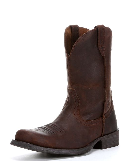 """<p>These rustic western boots are a basic, bare bones boot that look like they've been aged to perfection.  In fact, these boots look great when they are worn-in to the point of having some """"character"""", which is yet another reason we just love the square toed rambler. They are rugged enough for the ranch, but sleek enough for the city.  With an amazingly comfortable shock absorbant sole, we think you'll never want to take these bad boys off.</p>"""