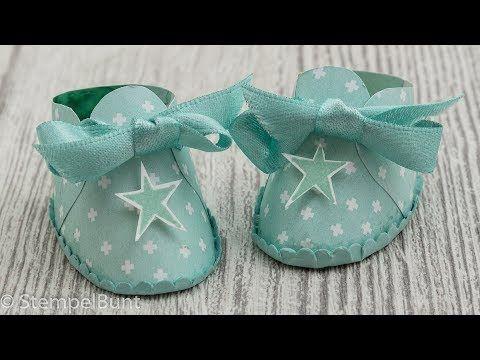 (6) Babyschuhe für Geburt oder Taufe (cm+inch) mit Produkten von Stampin'Up!® - YouTube