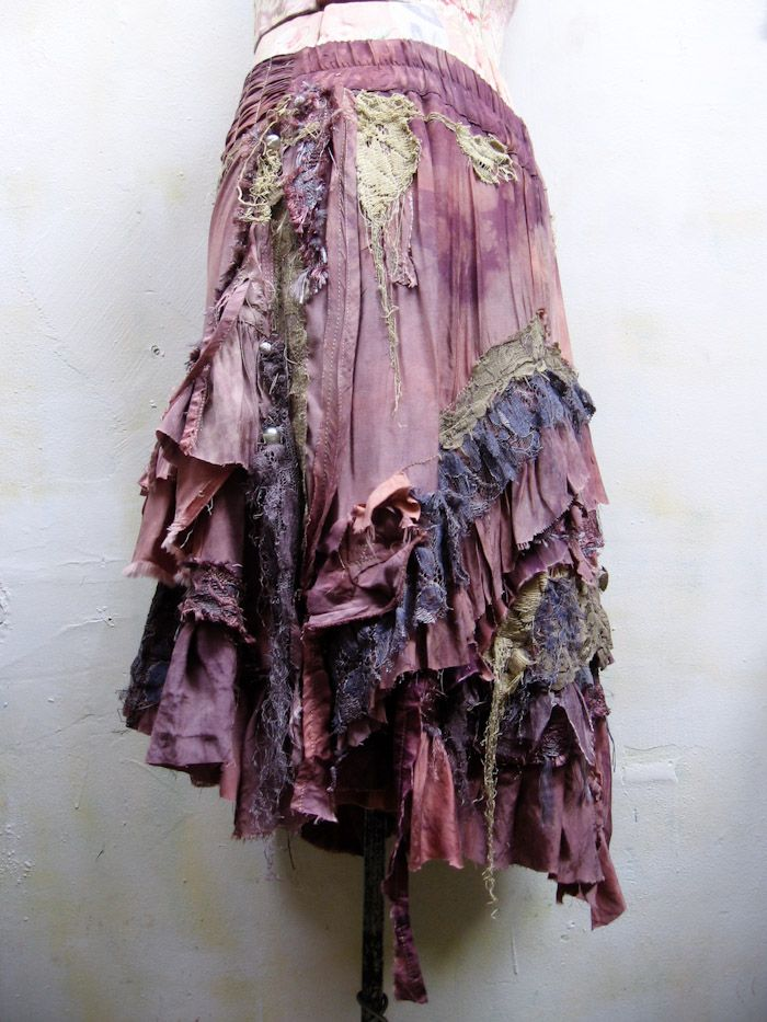 oh my gosh, i am SWOONING over this tattered purple skirt. it looks like a moonlit night incarnate!