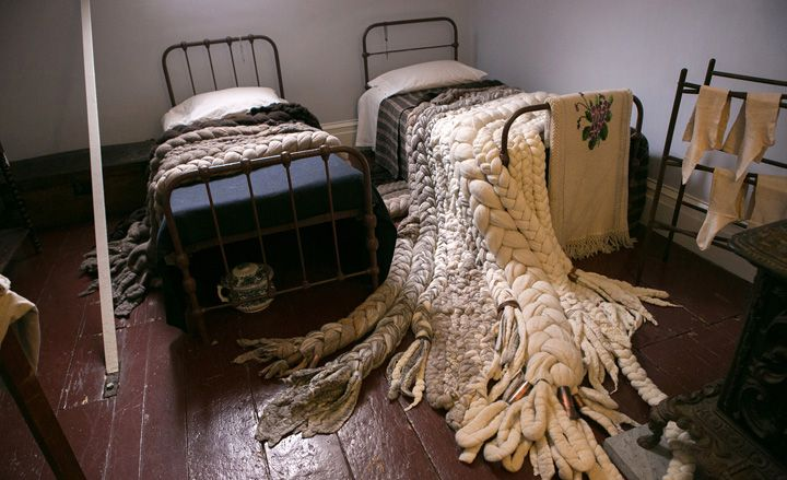New York Design Week 2013: the highlights                                                                         The sculptural weavings of designer/artist Dana Barnes run over twin beds in the servants' quarters of the museum  #Wallpaper  #Dana Barnes  #New York Design Week 2013